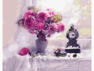 Цветы, натюрморты, букеты Натюрморт с розовыми астрами