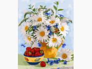 Цветы, натюрморты, букеты Ромашки и клубника