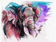 Животные и рыбки Слон акварелью