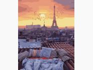 Городской пейзаж Закат с видом на Париж