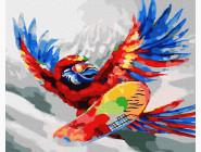 Птицы и бабочки картины по номерам Яркий попугай