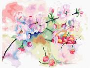 Картины по номерам для кухни Весенняя черешня акварелью