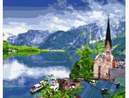Городской пейзаж Вид на горное озеро