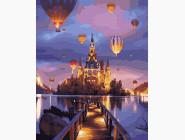 Городской пейзаж Воздушные шары над замком
