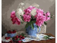 картина по номерам Пионы с ягодами