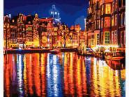 Городской пейзаж Отражение вечернего города