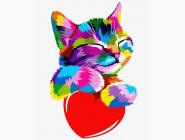 Коты и собаки картины по номерам Радужный котёнок