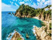 Море, морской пейзаж, корабли Лазурный скалистый берег