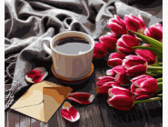 картина по номерам Натюрморт с тюльпанами