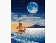 Море, морской пейзаж, корабли Луна над лодкой