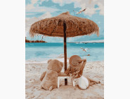 Портреты, люди на картинах по номерам На пляже с мишкой