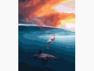 Портреты, люди на картинах по номерам На одно волне с акулой