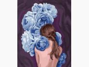 Цветы, натюрморты, букеты Девушка в синих пионах