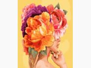 Цветы, натюрморты, букеты Девушка с яркими пионами