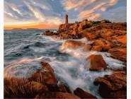 Море, морской пейзаж, корабли Маяк на побережье