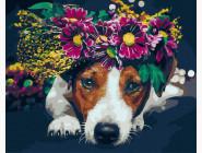 Цветы, натюрморты, букеты Собачка с венком