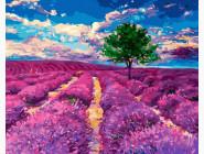 Пейзаж и природа Дерево на лавандовом поле