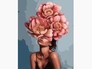 Цветы, натюрморты, букеты Девушка в цветущих пионах