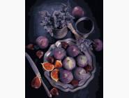 Картины по номерам для кухни Инжир и лаванда