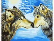 Животные и рыбки Волки в зимнем лесу