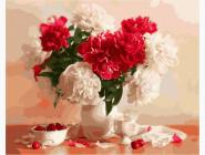 Цветы, натюрморты, букеты Пионы и вишни