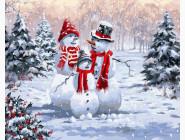 Новый год  Семья снеговиков