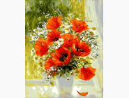 Цветы, натюрморты, букеты Букет на окне