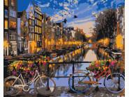 Города мира и Украины: картины без коробки Закат на улочке Амстердама