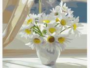 Букеты и натюрморты: картины без коробки Ромашки в белой вазе на окне