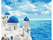 Морской пейзаж: картины без коробки Облака Санторини