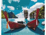 Море, морской пейзаж, корабли Лодки в лагуне