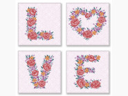Триптихи по номерам и полиптихи Квартет Слово LOVE flowers