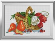 Натюрморт, фрукты и овощи Корзина с цветами и фруктами
