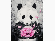 Новинки алмазной вышивки Панда с цветком