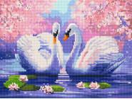Новинки алмазной вышивки Пара лебедей