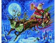 Новинки алмазной вышивки Санта в новогоднюю ночь
