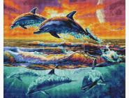 Новинки алмазной вышивки Стая дельфинов