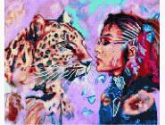Новинки алмазной вышивки Девушка с леопардом