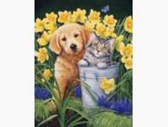 Новинки алмазной вышивки Котенок с щеням в саду (30321)