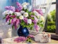 Новинки алмазной вышивки Сирень и кошка (GM70509)