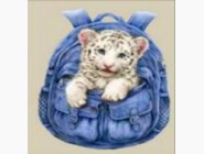 Новинки алмазной вышивки Белый тигрёнок (ME20656)