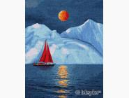 Море, морской пейзаж, корабли Красный парусник