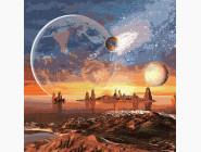 Космос, машины, самолеты Космическая пустыня с красками металлик