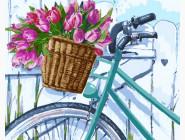 Букеты и натюрморты: картины без коробки Тюльпаны в корзинке