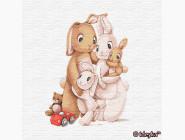 Детские раскраски по цифрам без коробки Маленькая семья кроликов