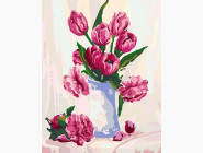 Букет бордовых тюльпанов