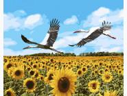 Птицы и бабочки: картины без коробки KHO4182 Картина по номерам Аисты в небе (Без коробки) Идейка