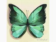 Птицы и бабочки картины по номерам Зеленая бабочка