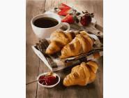 Картины по номерам для кухни Утро с кофе и круассанами