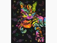 картина по номерам Неоновая кошка